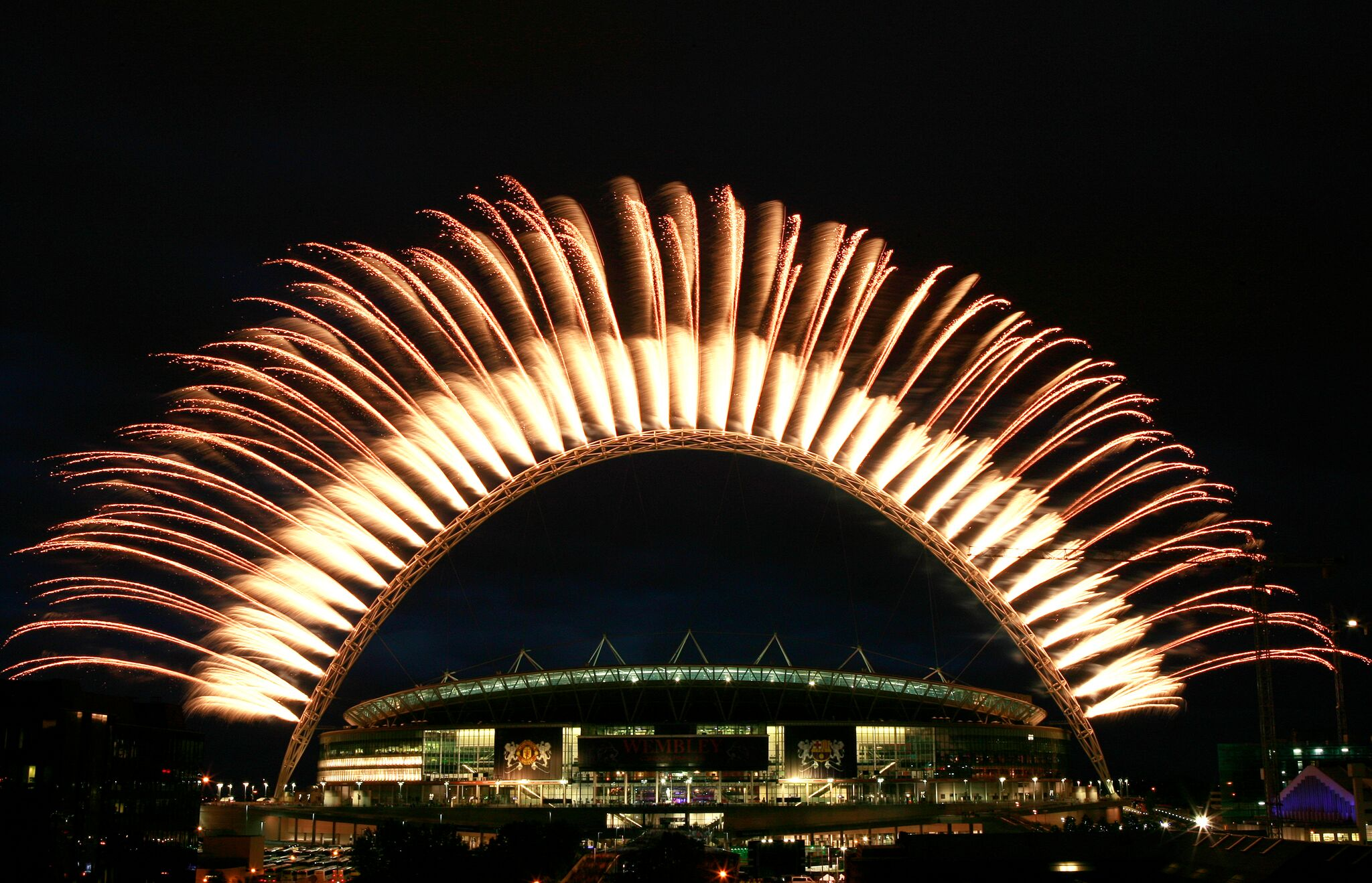 Pyrotechnics UEFA Champions League Final Wembley Stadium Arch Pyro Fireworks