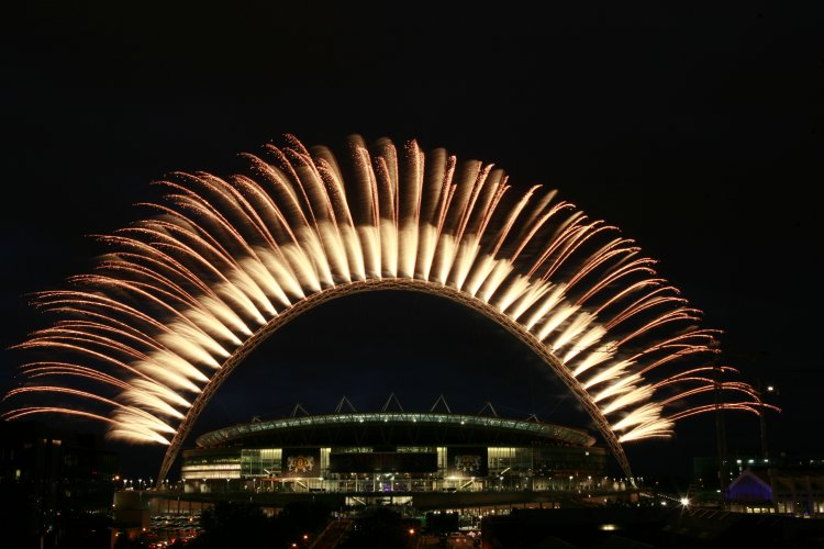 Pyrotechnics Wembley Stadium Arch Champions League Final 2011 Pyro Fireworks